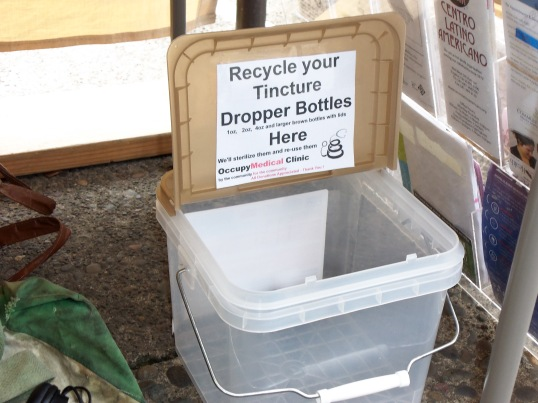 OM recycles tincture bottles for the cause!